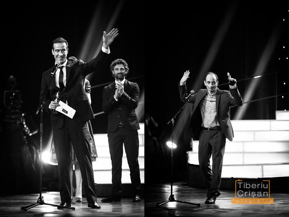 Serban Pavlu (stanga), Andi Vasluianu (centru) si Gabriel Spahiu (dreapta) pe scena la Premiile Gopo 2013